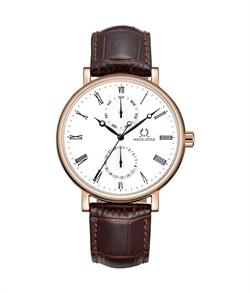 「天長地久」多功能石英皮革腕錶(W06-03198-002)