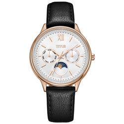 Fashionista多功能真皮不锈钢腕表 (W06-03208-003)