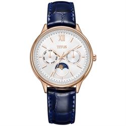 Fashionista多功能真皮不锈钢腕表 (W06-03208-005)