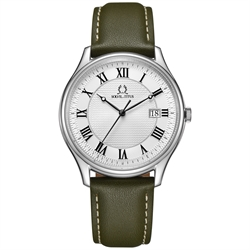 Classicist三针日期显示石英真皮腕表(W06-03193-003)