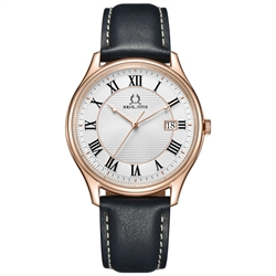 Classicist三针日期显示石英真皮腕表(W06-03193-005)